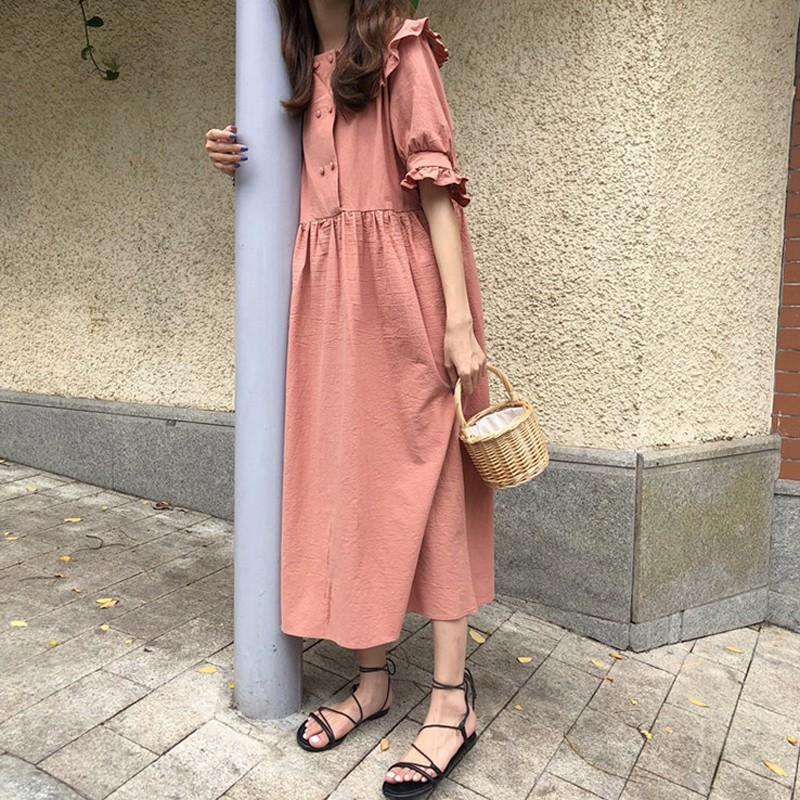 Summer niche A-line skirt retro lapel small fresh long dress women's student tid