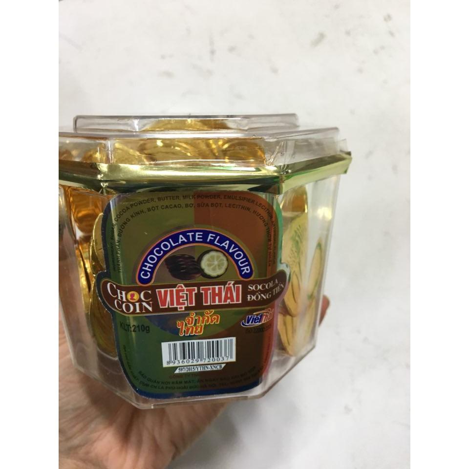 [ FREE SHIP ]Combo 10 hộp socola đồng xu vàng Việt Thái 210g