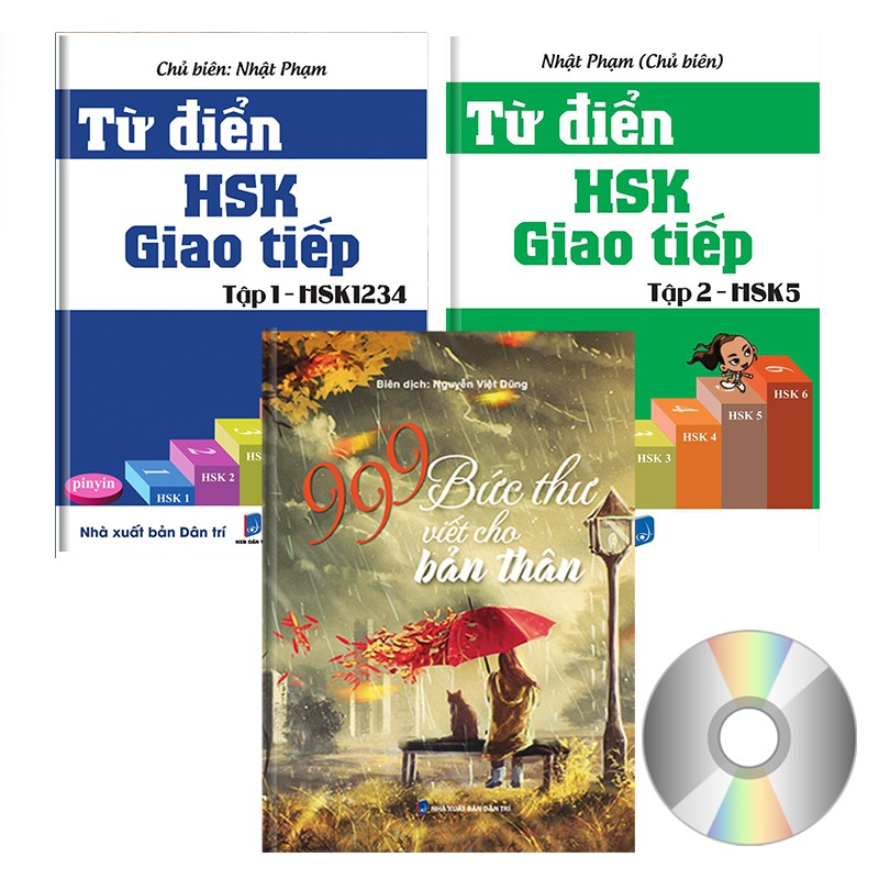 SÁCH - Combo 3 sách: Từ Điển Giao Tiếp HSK1234 + HSK5 + 999 Bức Thư Viết Cho Bản Thân (2018) (có Aud