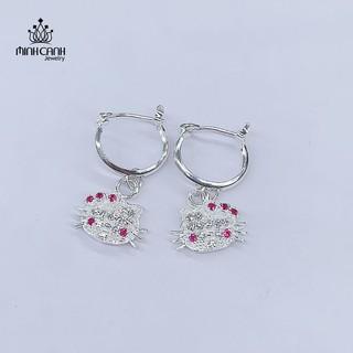 Bông Tai Hello Kitty Bằng Bạc Cho Bé Gái Dạng Tròn Treo - Minh Canh Jewelry
