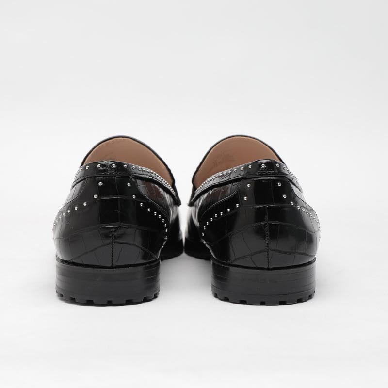 Giày mọi da rắn mũi gắn tua