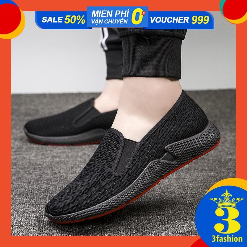 Giày Lười Thời Trang Nam Đế Đỏ Sành Điệu Vải Khoét Lỗ Nhẹ Êm Chân - 3208