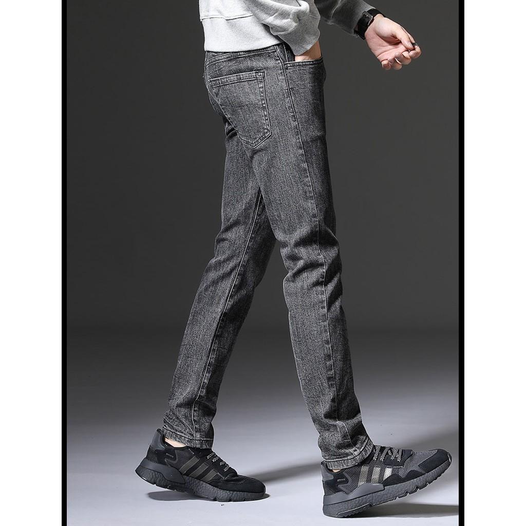 Quần jean nam màu XÁM VNXK vải cao cấp không phai, quần dáng côn co giãn nhẹ