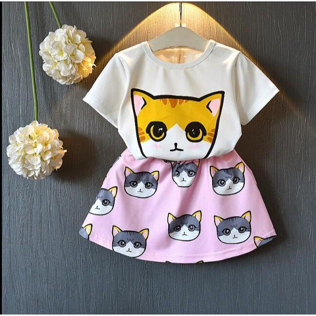 Girl'S Summer Suit Korean Style Kid'S Wear Cartoon Cat T-Shirt Sweet Cute Half Dress