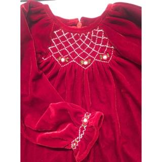 Váy smock Her corner Nhung the đỏ