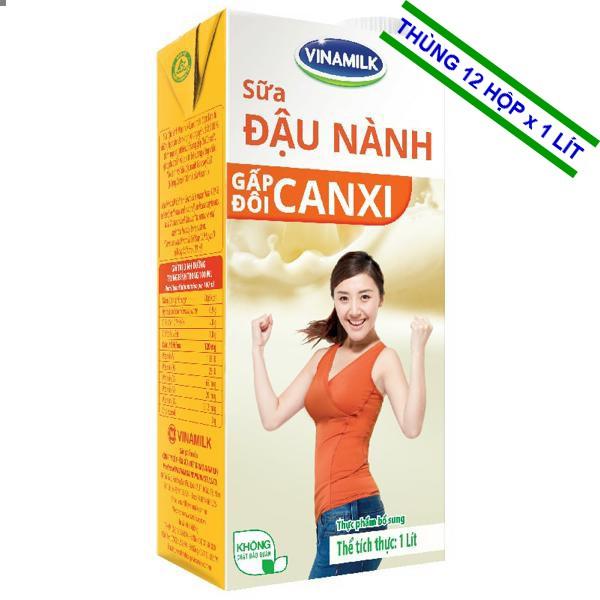 Sữa đậu nành 2X Canxi có đường 1Lít- Thùng 12 Hộp