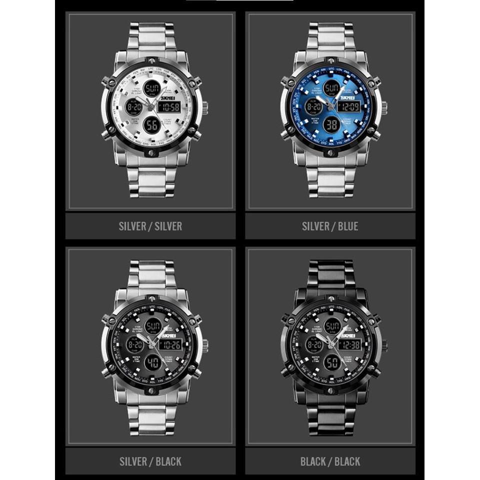 Đồng hồ nam chính hãng Skmei SK3V cao cấp, dây thép đúc, mặt số cực độc, chống nước tốt, kim giờ, số điện tử cực đẹp