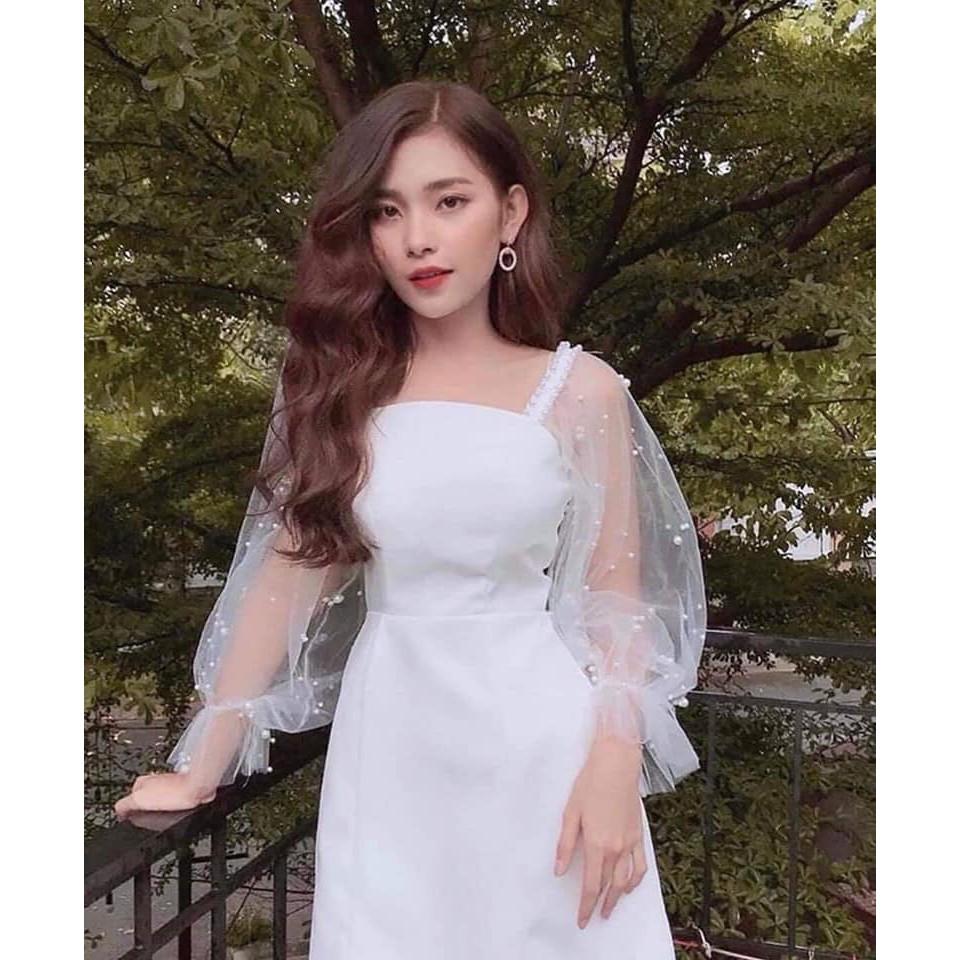 ☘️ Đầm Suông Đi Tiệc Phối Lưới Tay Dài Đính Ngọc Chất Umi Frees Size 2 Màu Đen Trắng ☘️
