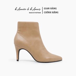 Boot nữ Cao Gót bAimée & bAmor Cổ Thấp Mũi Nhọn Gót Nhọn Cao 7cm Giày Bốt Đẹp Lót Lông Da Mềm Màu Trắng Đen Kem - MS1618