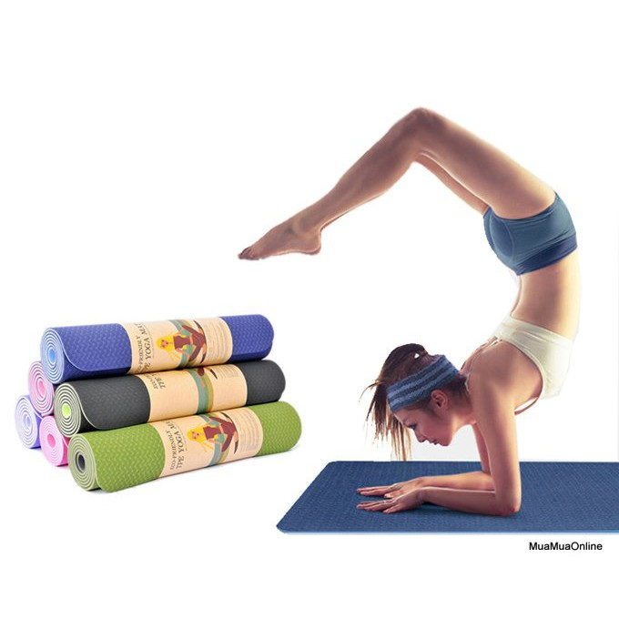 Thảm Tập Yoga TPE 2 Lớp Hoa Văn Cao Cấp