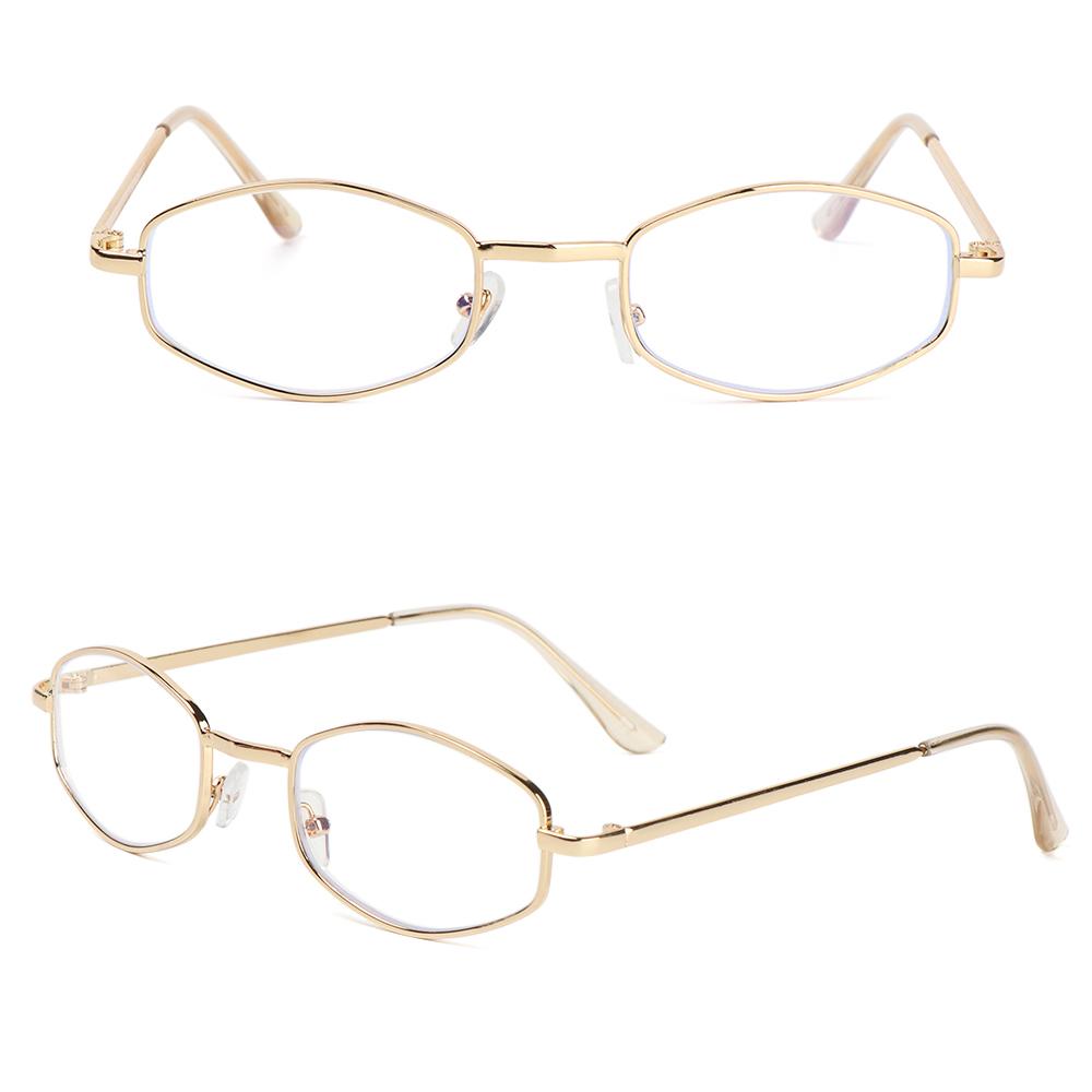 XIANSTORE Fashion Metal Glasses Vintage Eye Protection Anti-Blue Light Eyeglasses Portable Women Men Computer Polygon Ultra Light Frame/Multicolor
