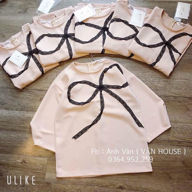 Áo viền nơ ba màu tay lỡ ,áo  siêu hot, áo  cao cấp, áo chất lượng cao , áo  đẹp H2