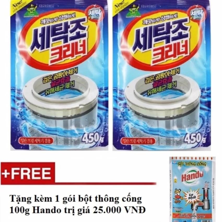 Bộ 2 gói bột tẩy vệ sinh lồng máy giặt 450g + Tặng kèm 1 gói bột thông cống nội địa Hando 100g