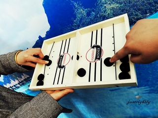 Jry₪Fast Sling Puck Game Wooden Board Table Hockey Game Party Children Toys