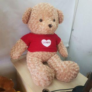 Gấu bông teddy be áo tim đỏ 1m2