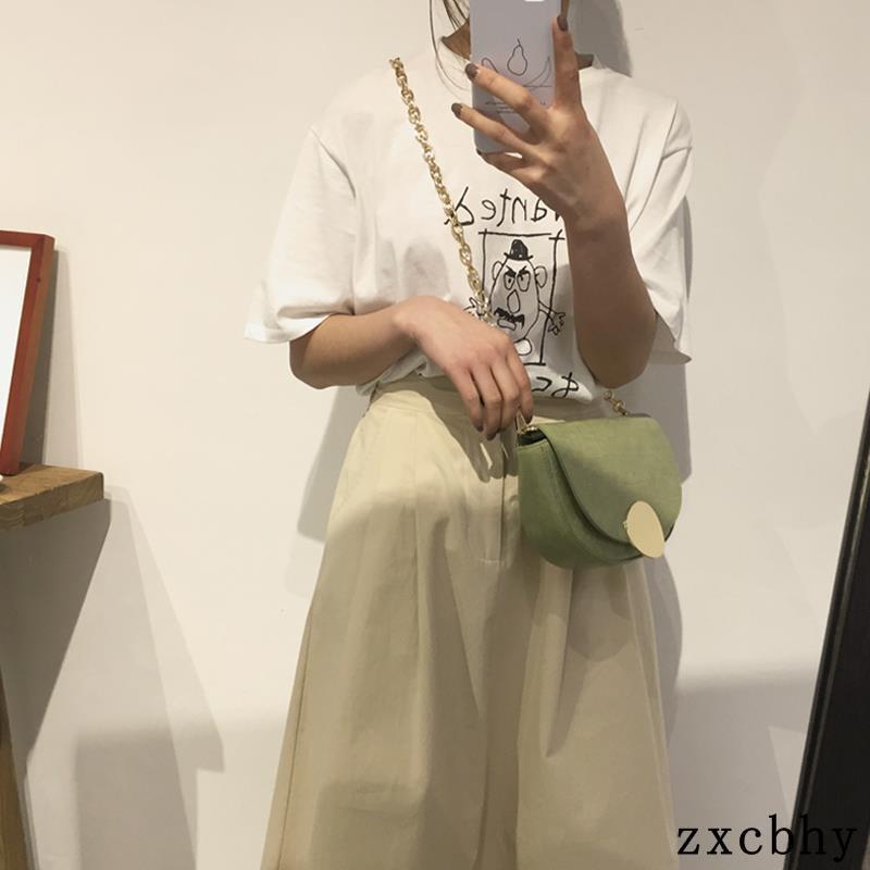 2019 mẫu cá sấu retro hình bán nguyệt yên túi chuỗi hoang dã túi đeo vai Messenger