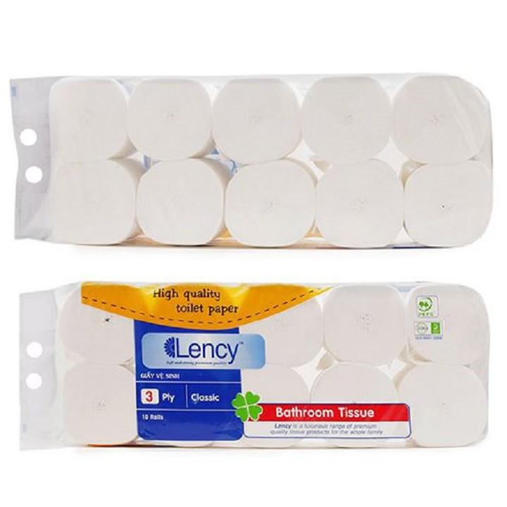 Combo 2 lốc giấy vệ sinh Lency Xanh 10 Cuộn Cao Cấp Không Lõi