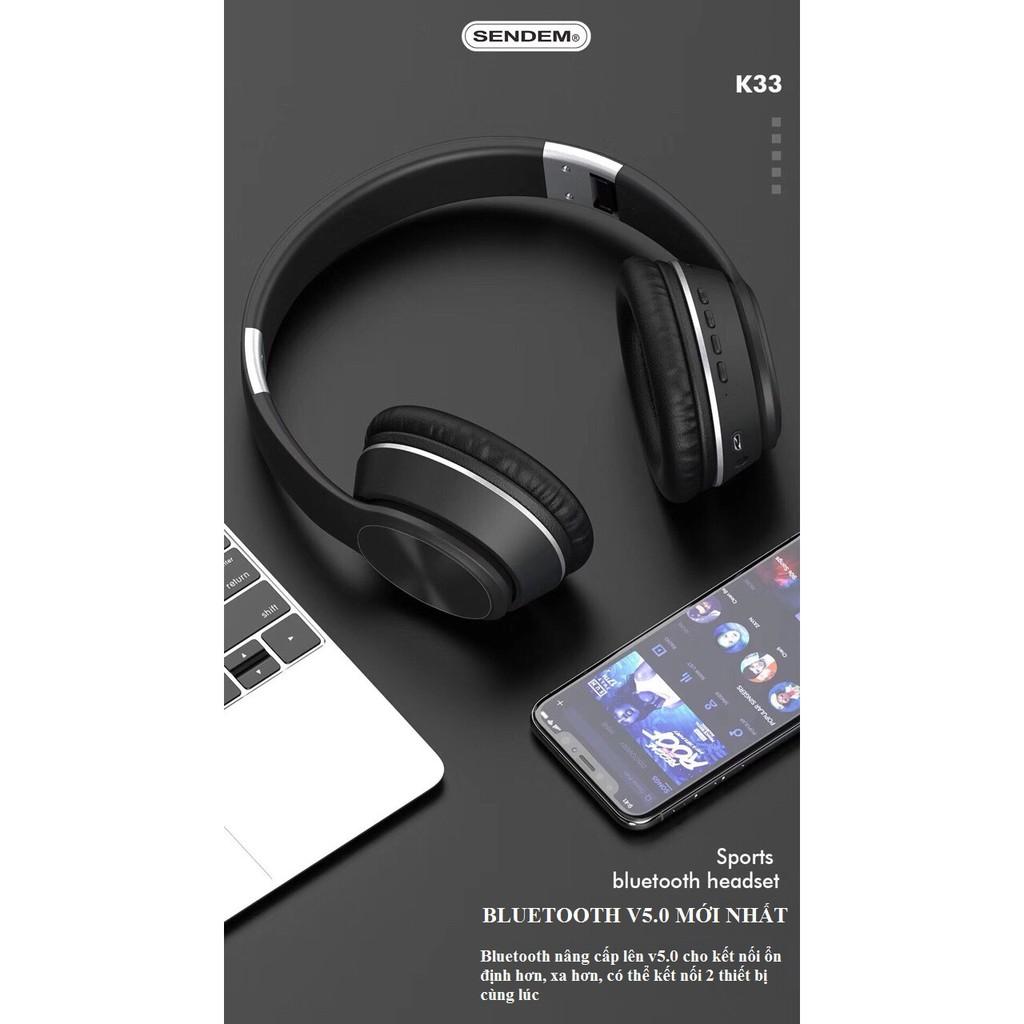 [SIÊU PHẨM MỚI] Tai nghe chụp tai Bluetooth V5.0 có dây SENDEM K33 âm thanh CỰC ĐỈNH hỗ trợ thẻ nhớ -  HÀNG CHÍNH HÃNG