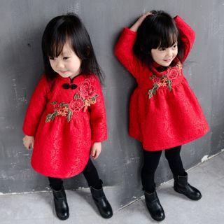 Đầm diện Tết thêu bé gái TQXK lót lông