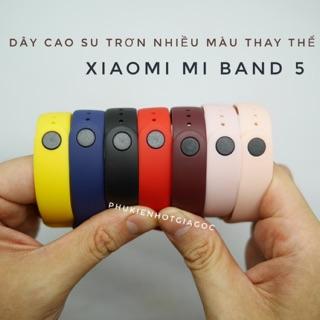 Dây đeo cao su trơn màu thay thế cho Vòng đeo tay Xiaomi Mi Band 5 thumbnail