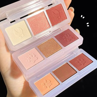 Bảng phấn mắt 3 màu GECOMO nhũ kira tông cam đào hồng đất Cute Claw Three Color Eyeshadow Palette GECO08