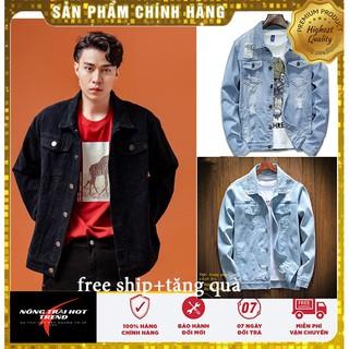 Áo khoác nam, áo khoác jean nam áo chống nắng form rộng màu xanh-đen