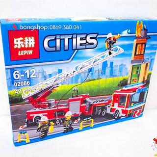 Lego Lepin Cities 02086 Lính Cứu Hỏa / 421 Chi Tiết. Lego Xếp Hình Đồ Chơi Thông Minh