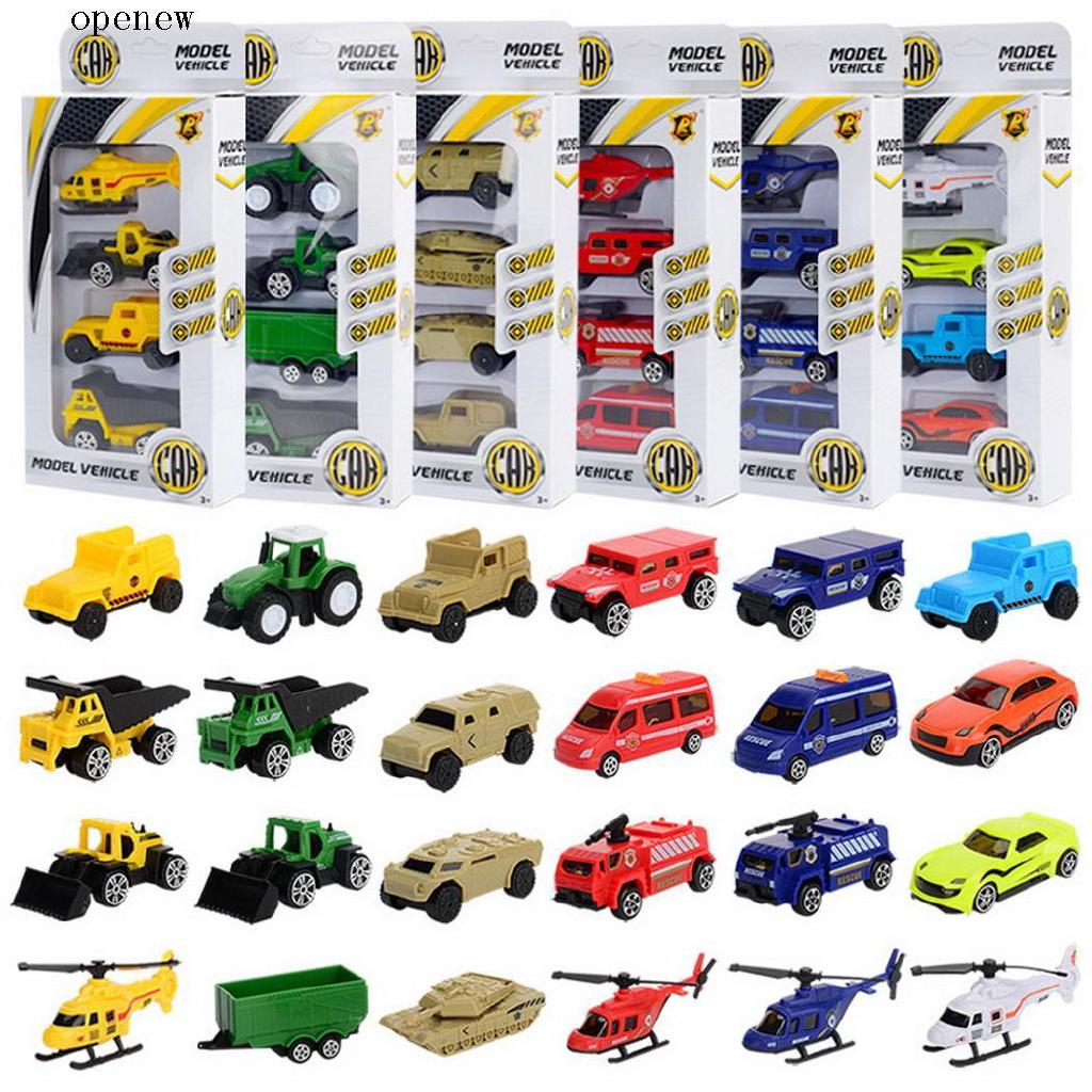 op 4Pcs Mini Construction Vehicles Hand Sliding Toy Cars Children Kid Toys
