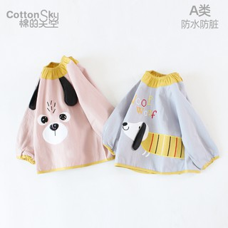 Baby gown eating water and dirt resistant infant autumn and winter children bib girl long sleeve pure cotton bib boy