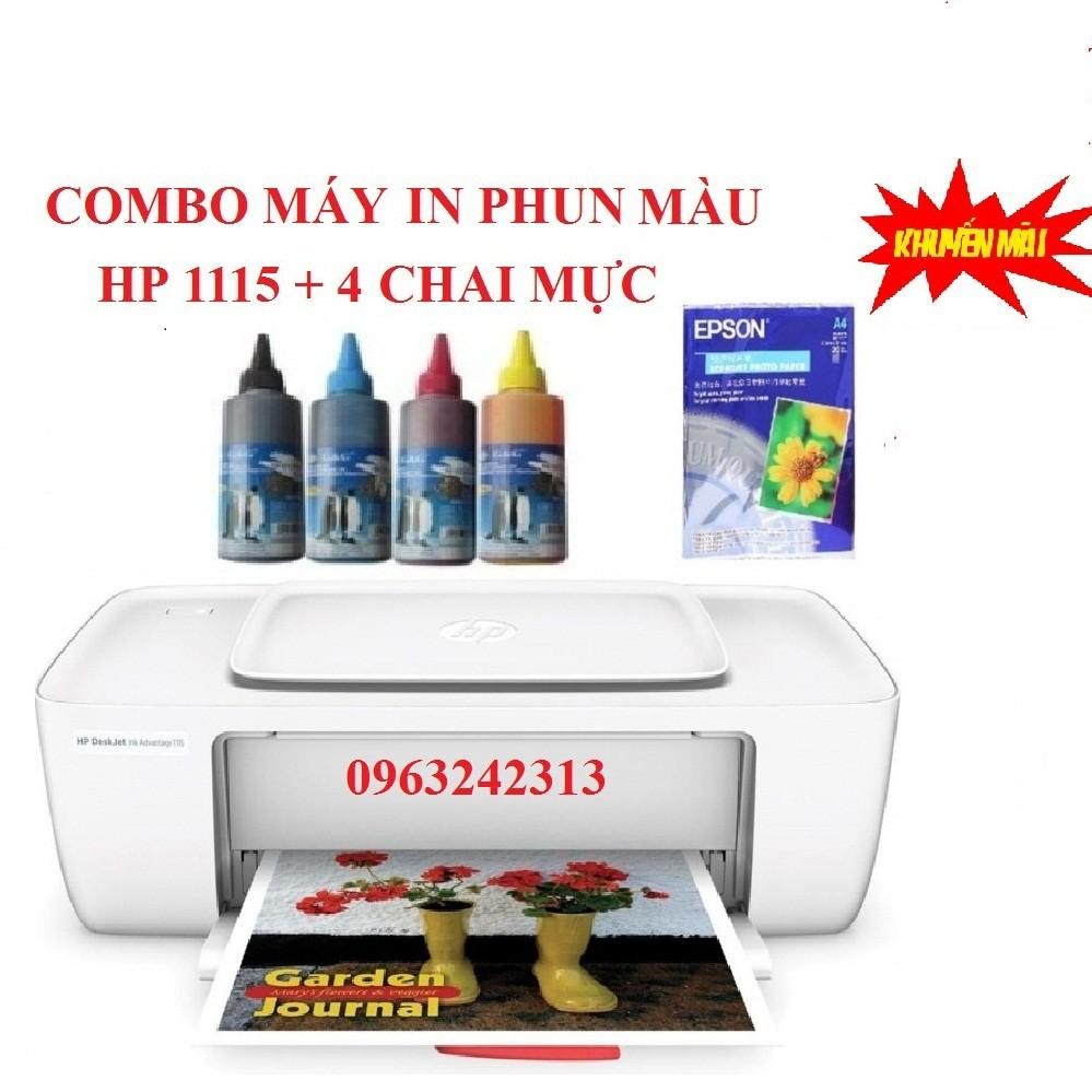 Combo máy in màu HP deskjet 1115 + 4 chai mực đổ (KM giấy in ảnh)