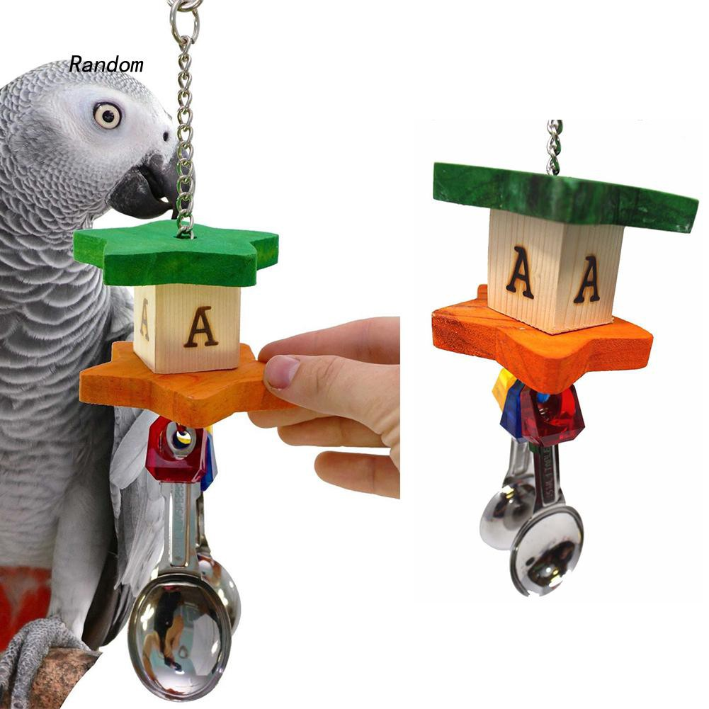[RA]Parrot Bird Stainless Steel Soup Spoon Building Block Chew Bite Toys Cage Decor