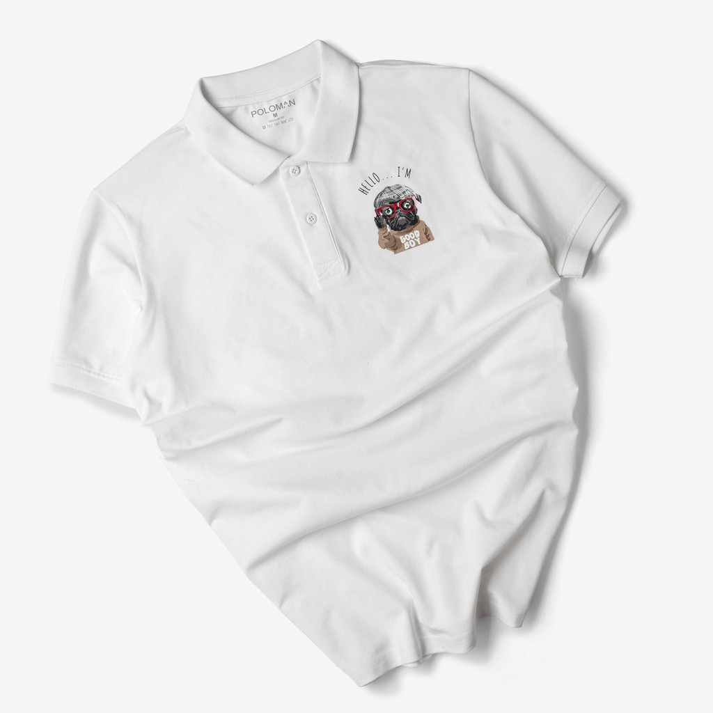 Áo thun Polo nam GOBO hình Pugdog vải cá sấu Cotton xuất xịn P18-POLOMAN