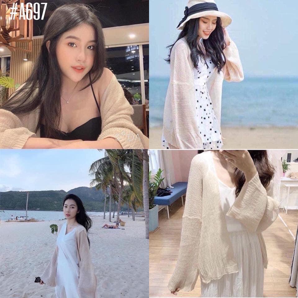 [SHIP 2H] Áo khoác len nữ cardigan mỏng, form dáng dài - 3 màu: nude, nâu, trắng