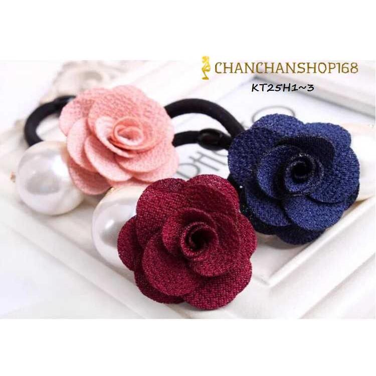 Cột tóc hoa hồng hạt châu giá 15k