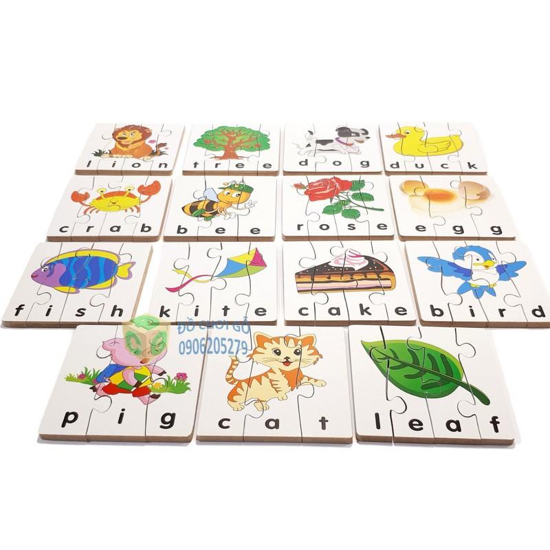 Đồ chơi gỗ - ghép hình học chữ TA- 1 bộ 15 hình ghép winwintoys