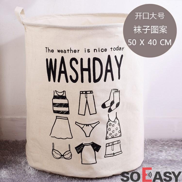 Giỏ, Túi đựng đồ giặt, đồ dơ, đồ chơi, gấp, xếp gọn gàng dễ thương (vải bố) W01_màu trắn