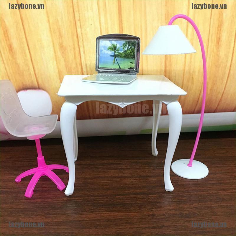 Set 4 đồ chơi trang trí nhà búp bê gồm bàn ghế máy tính dễ thương