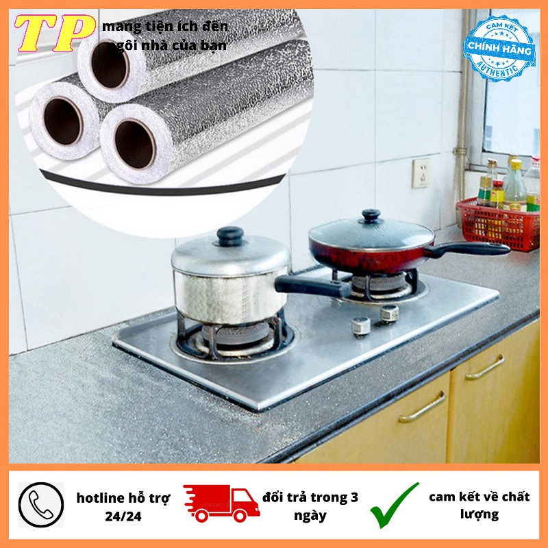 giấy bạc dán tường nhà bếp chống thấm dầu mỡ, được làm từ nhôm FOIL kích thước 60cm X 3m