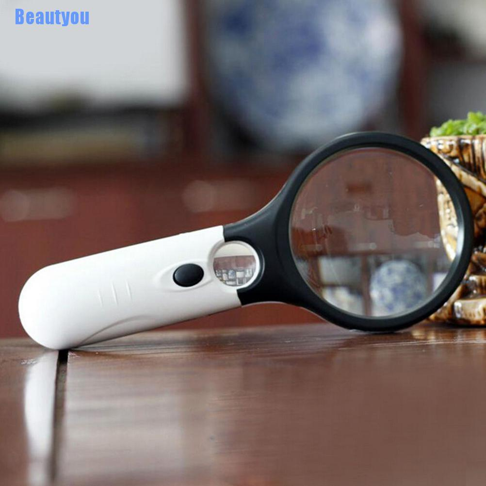 Beautyou: Handheld 45X Magnifying Reading Glass Lens Jewelry Loupe With 3 LED Light