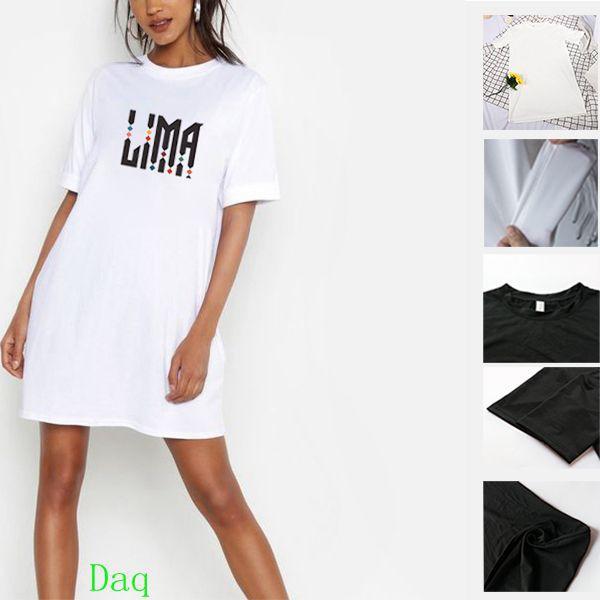 LIMA Letter Print Korean Fashion Women Round Neck Short Sleeve Mini Dress DAQ