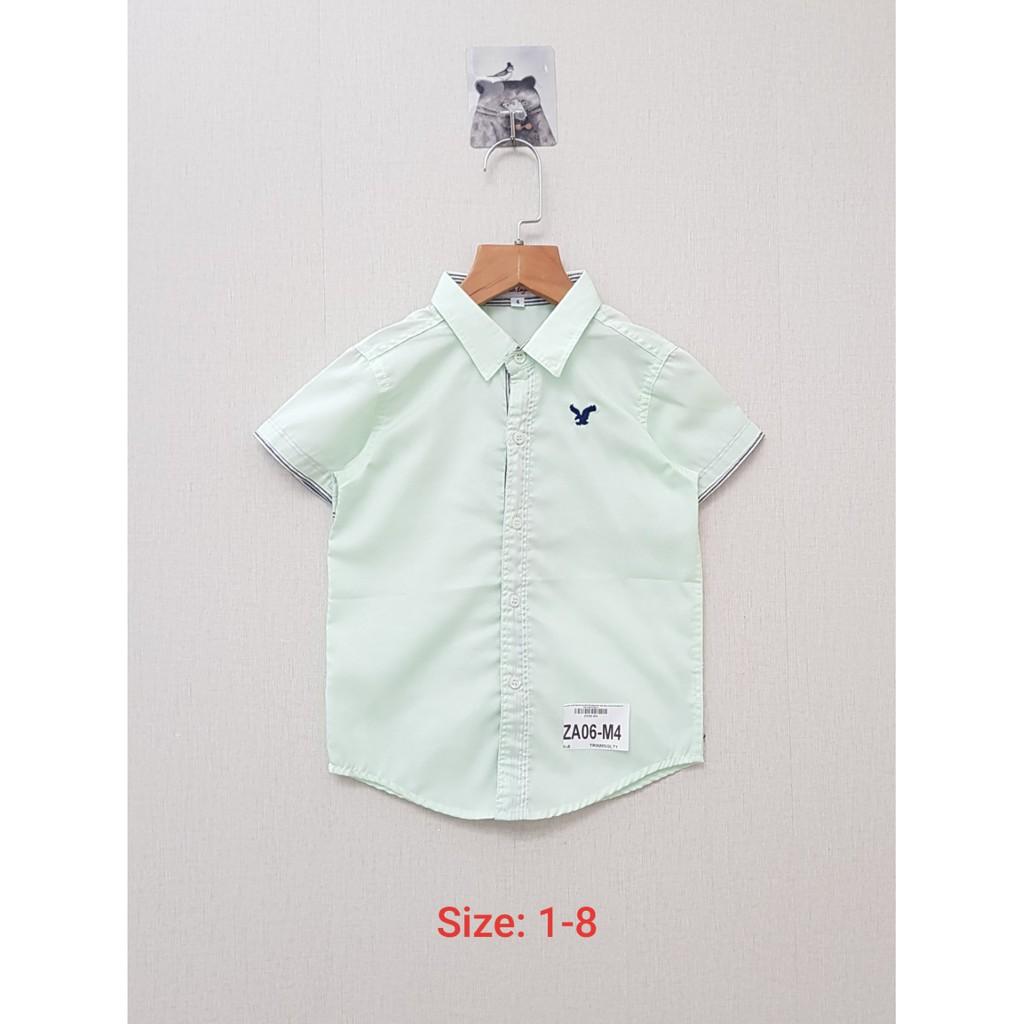 DG59-ABT-04- Áo sơ mi, tay ngắn, in hình trên nguejc, bé trai, Made in Vietnam, size s từ 10kg - 12kg