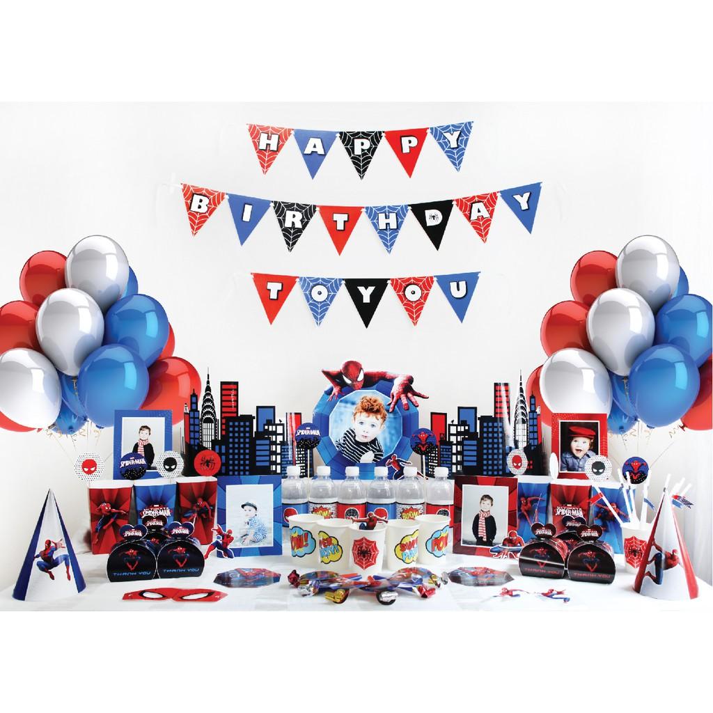 Set trang trí sinh nhật 16 món theo chủ đề- Người nhện