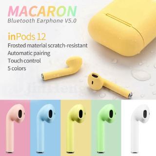 Tai nghe nhét tai không dây Bluetooth 5.0 TWS i12 với hộp sạc màu macaron đáng yêu