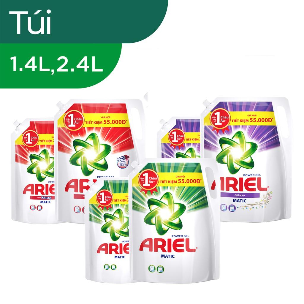 Bộ Ariel Matic nước giặt túi 2.4L + 1.4L