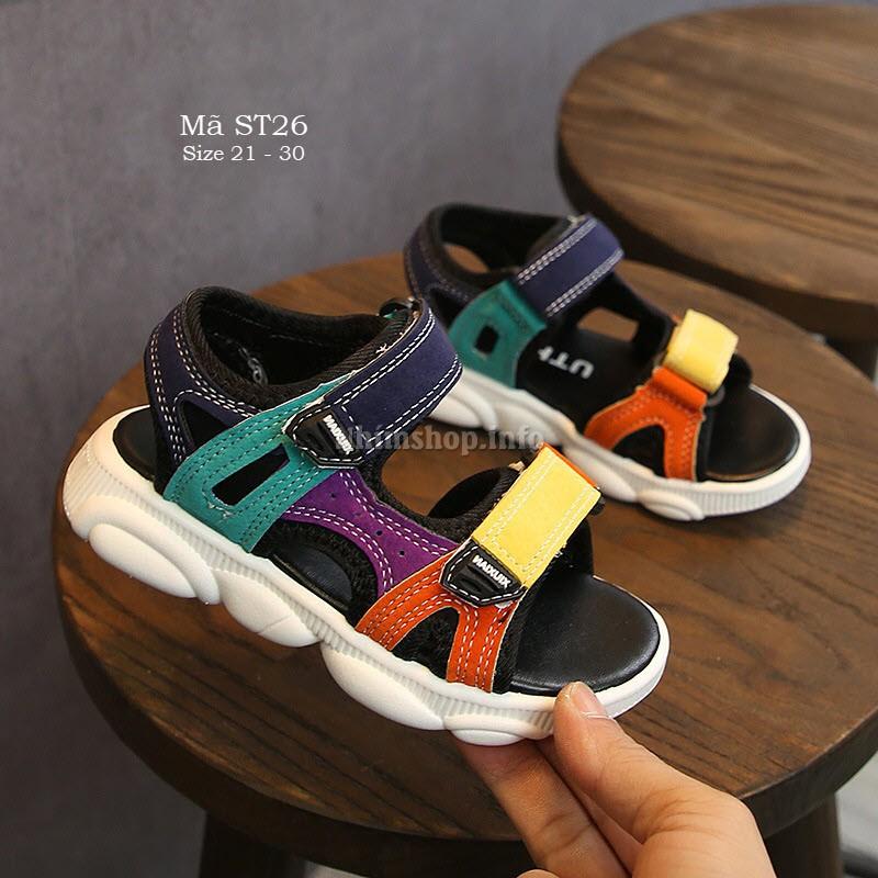 Sandal cho bé trai - Dép sandal quai ngang bé trai ST26 nhiều màu đẹp lạ đế chống trơn hàng nhập lên chân cực Tây