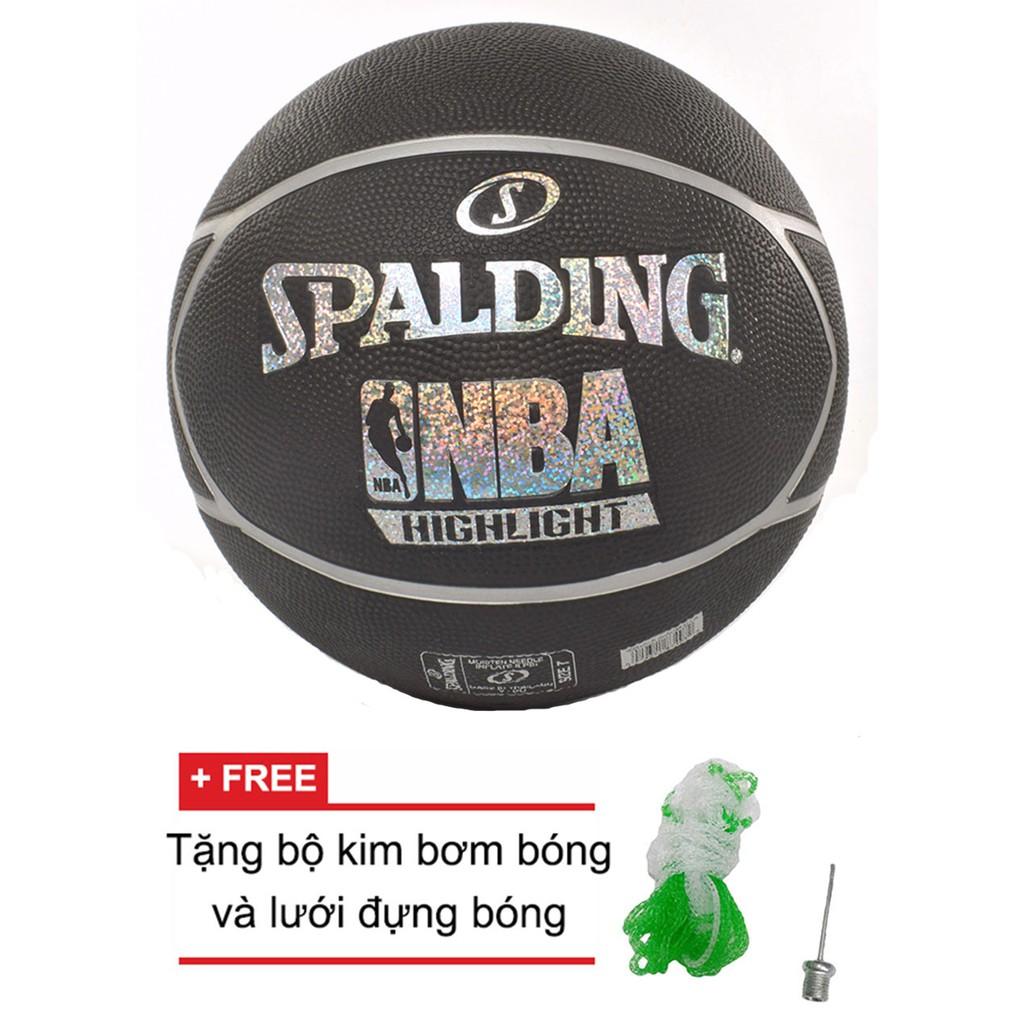 Bóng rổ Spalding NBA Highlight Hologram Outdoor Size 7 + Tặng kim bơm bóng và lưới đựng bóng