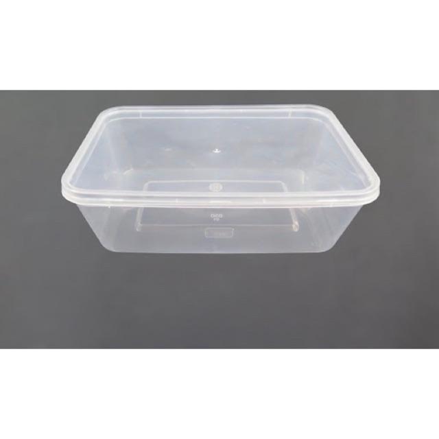 50 cái hộp chữ nhật nhựa có nắp dùng 1 lần nhiều size 500ml, 650ml, 750ml hay 1000ml