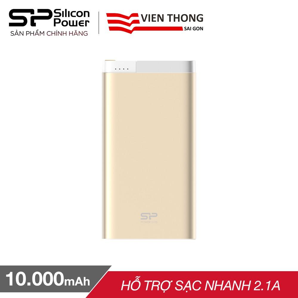 Pin sạc dự phòng Silicon Power S105 10.000mAh hỗ trợ sạc lightning iPhone/iPad(Vàng)