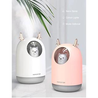 Máy phun sương mini hình thú-  tạo độ ẩm phòng điều hòa - dưỡng ẩm-màu sắc : Nai hồng , Nai trắng
