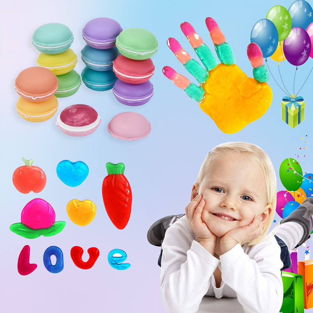 12Pcs Colorful Macaroon Soft Slime Scented Stress Relief Jelly Toy Hand Gum Toy